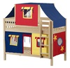 Whistle Stop Natural Low Twin Size Kids Playhouse Bunk Bed-Slatted Ends
