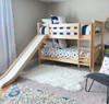 Most Fun Natural Twin Size Low Bunk Bed with Slide-Slatted Ends Room