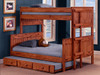 Duke Mahogany Rustic Bunk Beds twin over full with trundle