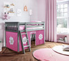 Turin Gray Loft Beds for Kids shown with Hot Pink and White Curtains
