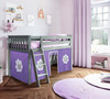 Turin Gray Loft Beds for Kids shown with Purple and White Curtains