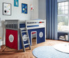 Turin Gray Loft Beds for Kids shown with Red and Blue Curtains