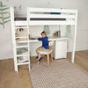 Cape May White Twin Loft Bed with Desk shown with One Optional Narrow 3 Drawer Desk Chest