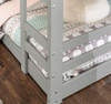 Noah Grey Twin Size Low Bunk Beds for Kids bottom ladder detail