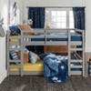 Noah Grey Twin Size Low Bunk Beds for Kids lifestyle front view