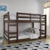 Eldon Walnut Twin Size Low Bunk Beds for Kids white bedding