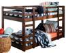 Eldon Walnut Twin Size Low Bunk Beds for Kids