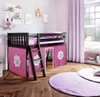Paliser Espresso Loft Beds for Kids shown with Hot Pink and White Curtain
