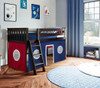 Paliser Espresso Loft Beds for Kids shown with Red and Blue Curtain