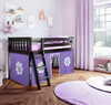Paliser Espresso Loft Beds for Kids shown with Purple and White Curtain