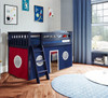 Buxton Blue Loft Beds for Kids shown with Red and Blue Curtains
