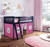 Buxton Blue Loft Beds for Kids shown with Hot Pink and White Curtains