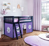 Buxton Blue Loft Beds for Kids shown with Purple and White Curtains