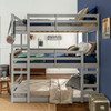 Noah Grey Twin 3 Bed Bunk Bed in room front view