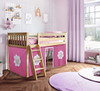 Finlay Natural Loft Beds for Kids shown with Hot Pink and White Curtains