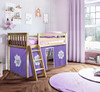 Finlay Natural Loft Beds for Kids shown with Purple and White Curtains
