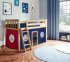 Finlay Natural Loft Beds for Kids shown with Red and Blue Curtains