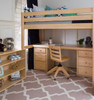 Guthrie Natural Twin Loft Bed with Desk shown with Two Optional Narrow 3 Drawer Desk Chests