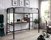 Emerson Twin Loft Bed with Desk black finish in room