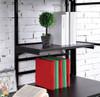 Emerson Twin Loft Bed with Desk black finish shelf detail