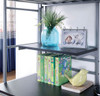 Emerson Twin Loft Bed with Desk silver finish shelf detail