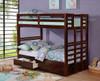 Landry Dark Walnut Convertible Bunk Beds in room