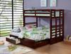 Landry Dark Walnut Convertible Bunk Beds in room extended
