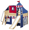 Frankie's Natural Twin Boys Castle Loft Bed with Slide-Panel Ends