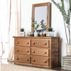 Woodlands Brown Cherry Large Dresser in room with matching mirror