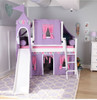 Purple Princess White Twin Girls Loft Bed-Slatted Ends Room Front View