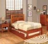 Grier Oak Platform Bed twin size with trundle