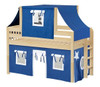 Caleb's Natural Twin Boys Playhouse Loft Bed-Slatted Ends