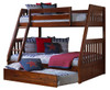 Ferguson Brown Cherry Twin over Full Bunk Bed with Optional Twin Trundle
