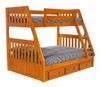 Stoney Creek Honey Twin over Full Bunk Bed shown with Optional Set of 3 Storage Drawers