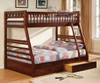 Lomax Cherry Twin over Full Bunk Bed with Storage Room