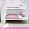 Anaya White Twin over Full Bunk Bed with Stairs Front View Room