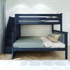 Braxton Blue Twin over Full Bunk Bed with Stairs Room