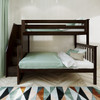 Lanier Espresso Twin over Full Bunk Bed with Stairs Front View Room
