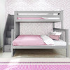 Rylan Gray Twin over Full Bunk Bed with Stairs Front View Room