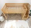 Irving Natural Twin Loft Bed with Stairs and Desk Top View Room