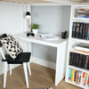 Irving White Loft Bed with Stairs and Desk Corner Desk shown along Back of Bed