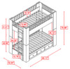 Draco Gray Twin Bunk Beds with Storage Dimensions