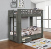 Draco Gray Twin Bunk Beds with Storage Room