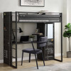 Shipping Container Gray Loft Bed with Desk and Storage Desk shown with Optional Metal Desk Chair Wardrobe Closed Room