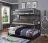 Shipping Container Gray Three Bunk Bed Room