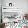 Wilde White Low Bunk Beds for Kids shown with 3 Optional Bottom Bunk Safety Rails