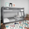 Grandview Gray Low Bunk Beds for Kids shown with 1 Optional Bottom Bunk Safety Rail