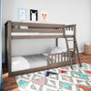 Chilton Brushed Clay Low Bunk Beds for Kids shown with 1 Optional Bottom Bunk Safety Rail