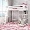 Wilde White Twin Loft Bed Shelves on Right-Ladder on Left Room