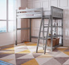 Grandview Gray Twin Loft Bed Shelves and Ladder on Right Room